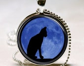Black Cat with Moon Background Pendant, Glass Photo Necklace, Silver Plated, Free Chain (PD0224) - wizardofcharms