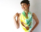 Yellow and Teal Silk Scarf -Moths- Hand Painted Silk Scarf - Summer Fashion -Luna Moth - Turquoise - TheSilkMoon