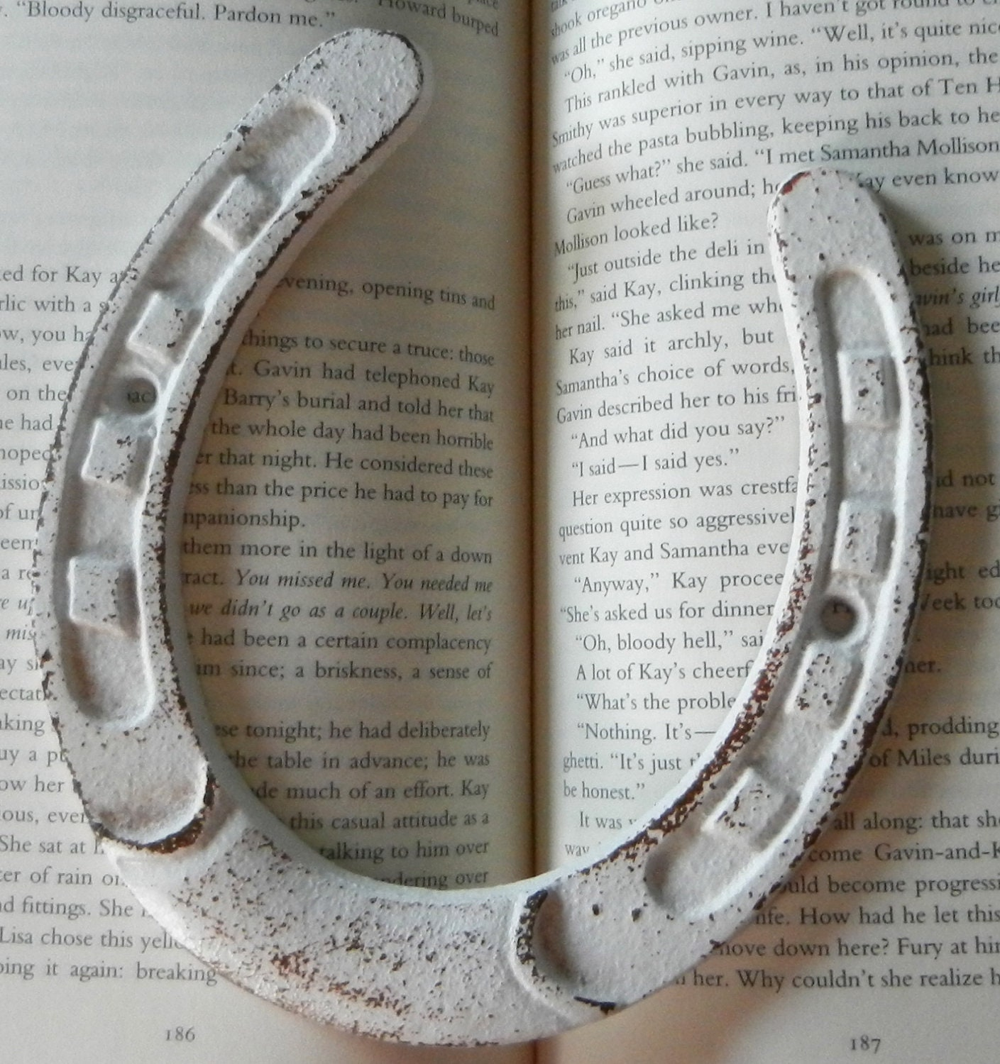 horseshoe / cast iron / rustic / white / shabby by juxtapositionsc