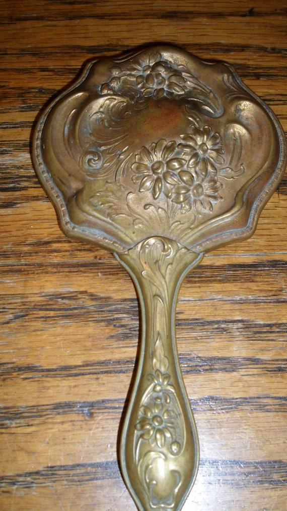 1890's Brass Hand Mirror