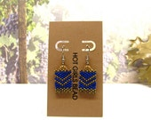 Handmade Royal Blue Golden Bronze Chevron Peyote Earring, Gift