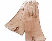 Light Brown Leather Gloves, Beige gloves - size XS - amazing vintage leather women gloves, nude gloves, cream - wwvintage