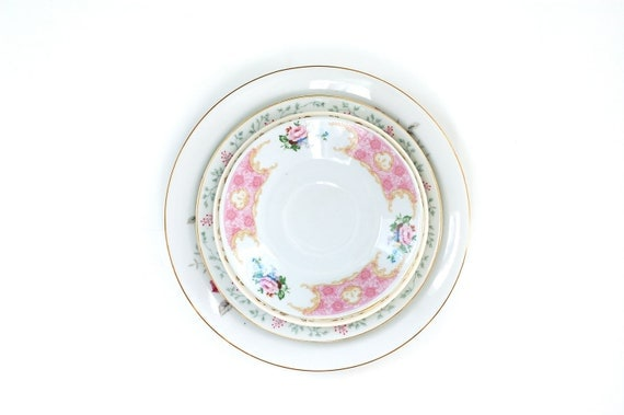 Vintage Plates in pinks and greens-instant collection-wall plates