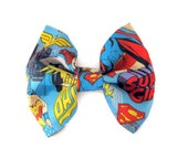 Fabric Bow Comic Book Bows Marvel super heros hair clip Nerdy Bow Large Bowtie Girly Super hero bows  Blue bow DC wonder women teen gear - SassyShugaBoutique