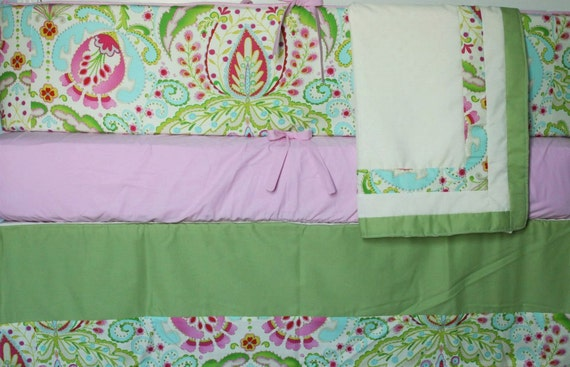 Kumari Garden Custom Crib Bedding Set - 4 pc set -  w/FREE gift