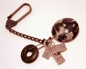 Keychain with a Black Lace Glass Gem and Initial Charms