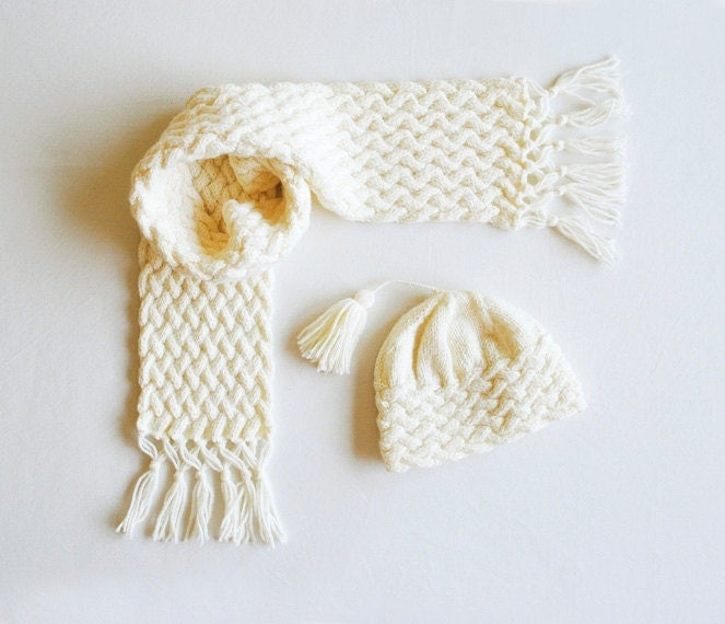 PDF KNITTING PATTERN Cabled Scarf & Hat  Baby hat  Baby scarf Cable Knit Scarf And Hat Pattern