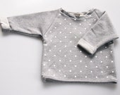 Handmade Unisex Baby Cropped Sweater - White Spots on Grey