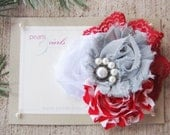 Red White and Gray Shabby Chic flower with Red Lace and Beaded Center - PearlsandCurlsBoutiq