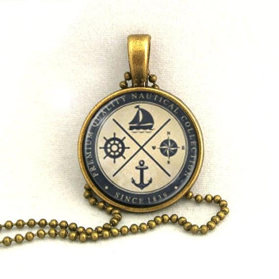 10% SALE Necklace Anchor Sailboat Rudder Compass Vintage Art Pendant Necklaces Gift