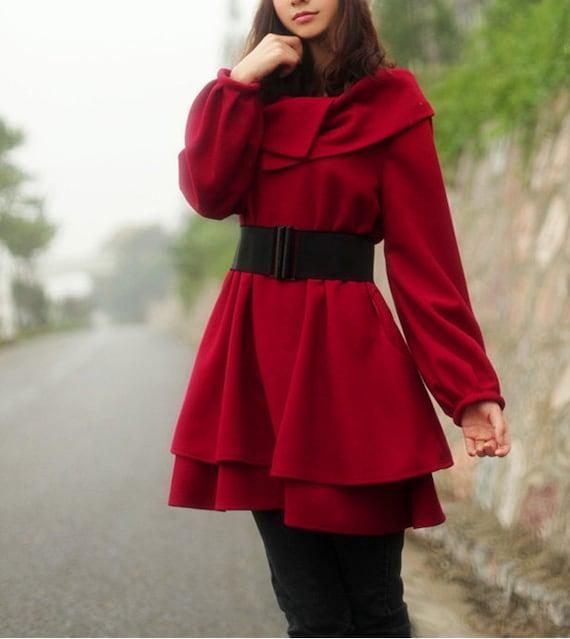 dark red women's Princess style cape Coat jacket with belt autumn winter coat  jacket cute coat dy15 M-XXXL