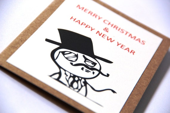 Meme Christmas Card - LIKE A SIR - Gentleman - Handmade Kraft Card - Customizable Fun Humor Greeting Card - Free Shipping