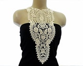Handmade Cotton Lace necklace, Cotton Lace Collar - Woman Accessories - Cream Color -Big Necklace- Woman Applique - OOAK