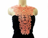 Handmade Cotton Lace Collar, necklace - Rustic-  Woman Accessories - Salmon Color - Woman Applique - OOAK