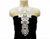 Handmade Cotton Lace Applique Collar, necklace- White- Dancer Lace- Woman Accessories- Oriental Style- Harem Design- Woman Applique - OOAK