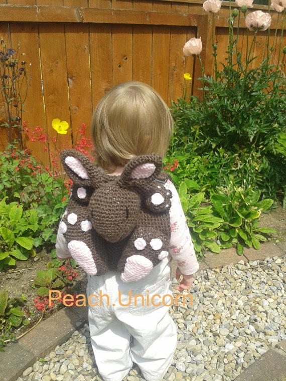Amigurumi- Bobby the Bunny Rabbit Backpack / bag Crochet Pattern for a crochet beginner
