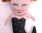 art doll mermaid- ooak- original- black white- Candace- redhead art- folk art- by the sea- rhinestone