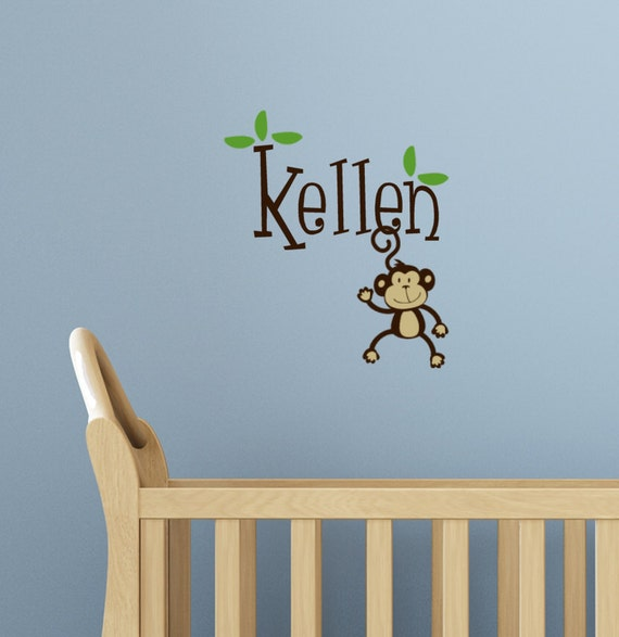 Personalized Monkey Name Wall Decal Kids Monogram baby Nursery decor