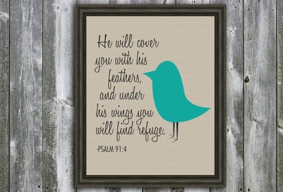 8 X 10 Inspirational Quote - Psalm 91 - Wall Art - Bird