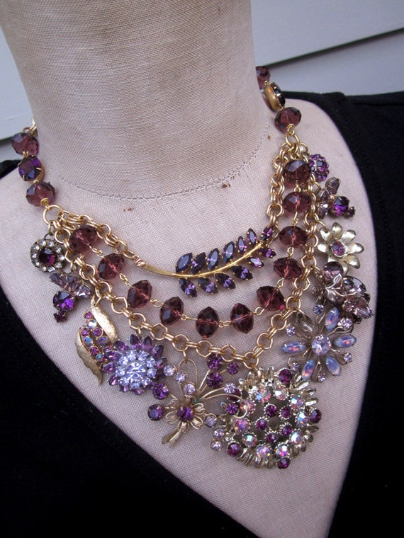 Vintage Amethyst Rhinestone Statement Necklace FREE SHIPPING
