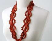 Fiber Art Jewelry - Silk Crochet Lace Necklace - Terra Cotta Orange - ElenaRosenberg