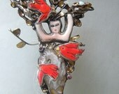 Modern Cameo Goddess Art Brooch/Pendant/Sculpture with Red Birds and Nest - laurastamperdesigns