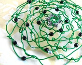 GREEN jewish woman's wire kippah, black and crystal glass beads, small green yarmulke, organic freeform temple cap