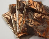 10 Ribbon Pouches - Fall Leaves Bronze Copper - ksewingbasket