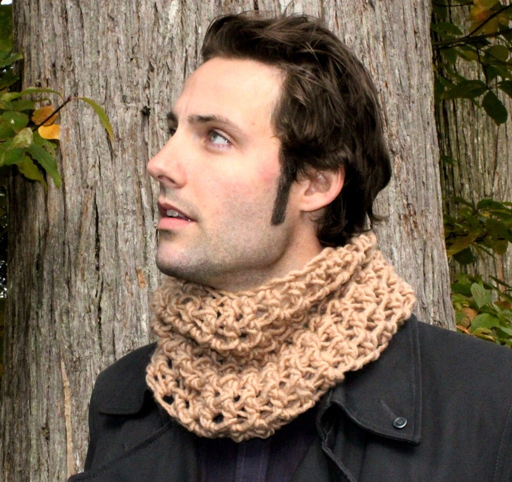 The Mowl Mens Cowl neck scarf warmer scarflette by BessetteArt Cowl Neck Scarves Men