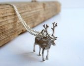 Moose Reindeer Necklace Pendant sterling silver Christmas Rudolph Deer Buck Fawn Jewelry - Nafsika