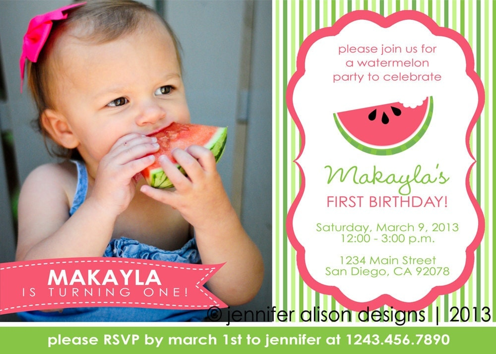 Watermelon Summer Party Printable Photo Invitation PERSONALIZED / Birthday Party / Baby Shower / BBQ