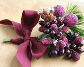 sugar plum frosted stamen bundle with wired pinecone and greenery - juliecollings