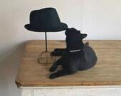 1950s Handmade Black Felt Fedora, Vintage Fedora Hat - 5gardenias