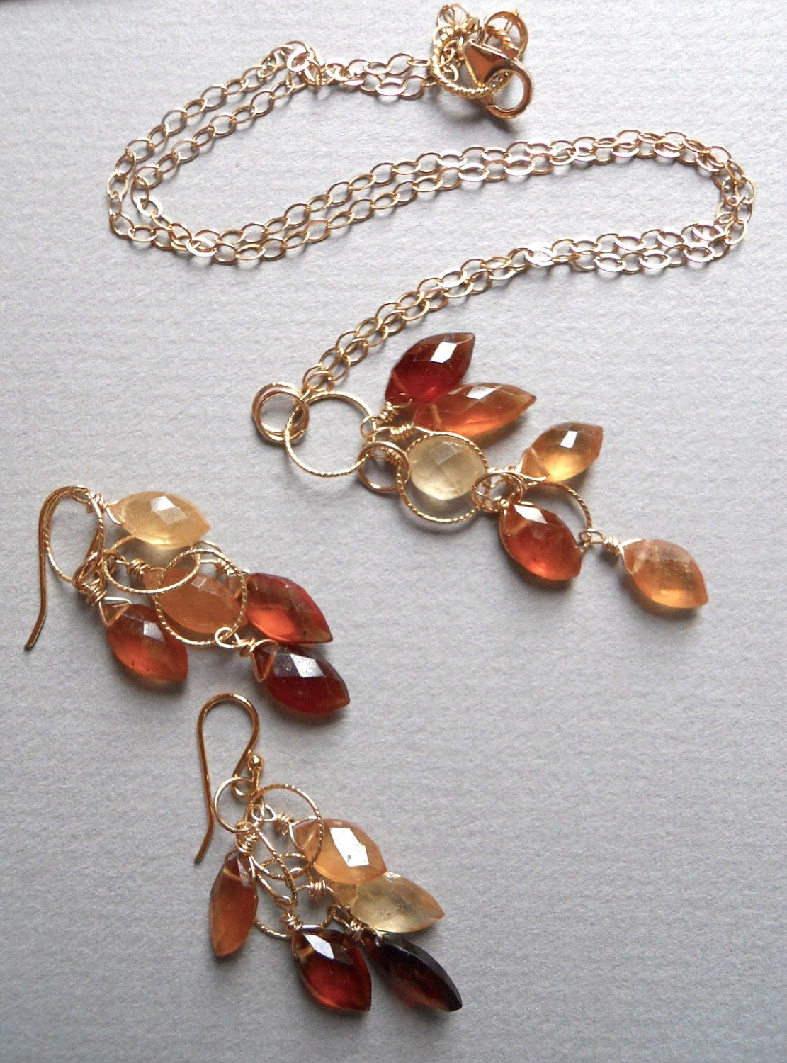 SET: Falling Leaves Hessonite Garnet Necklace AND Earrings - $140.00 USD