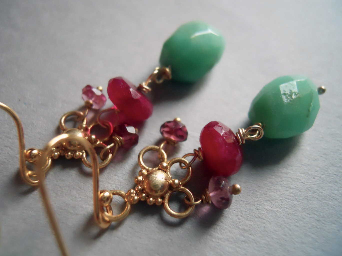A Beautiful Mess chandelier earrings with chrysoprase, ruby moonstone and tourmaline - $62.00 USD