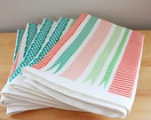 Christmas Tea Towel in Pink, Red and Green - Linen Cotton blend Tea Towel 18 x 24 inch - wickedmint