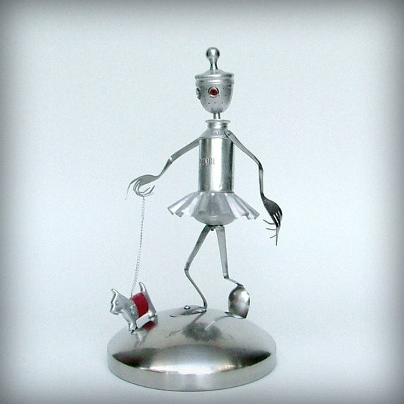 Walking the Dog-robot art sculpture-ooak kitchen robot