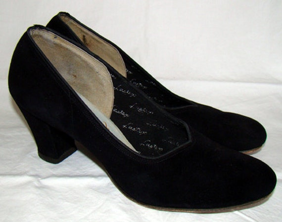 Black 1940's Shoes 40's Suede Pumps Heels