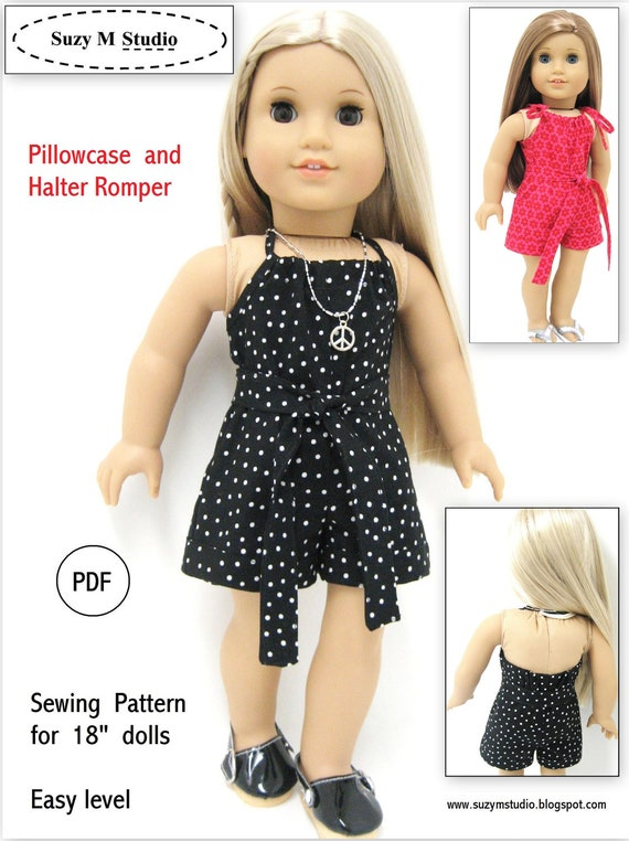 Pdf Pattern - Pillowcase and Halter Romper - American Doll Size