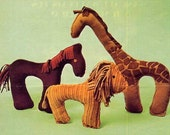 Cute Vintage 1970s Corduroy Critters Stuffed Animal Toys Sewing Pattern--Giraffe, Lion, Horse - allsfairyvintage