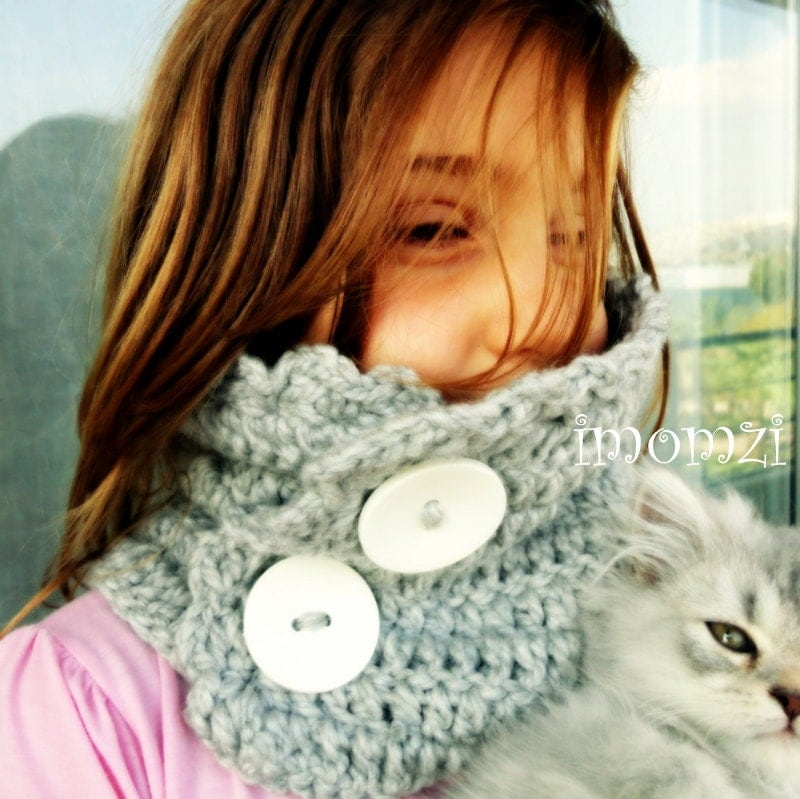 Crochet Kids Scarves Cowl Scarf with Buttons by mybabyhats on Etsy Crochet Scarf Kids