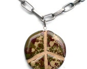 Camouflage Peace Sign Necklace : Unisex Chunky Reversible Mosaic Tile Pendant