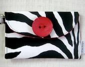 Wallet Wristlet Bridesmaid Gift Passport Travel - Black and White Zebra Womans Fashion