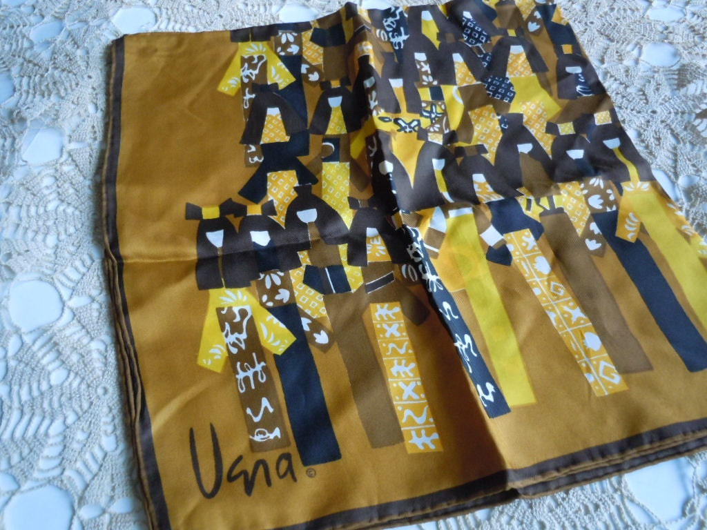 Vintage Vera Silk Blend Scarf Abstract Oriental Design of Women in  Silk Scarves Oriental Designs