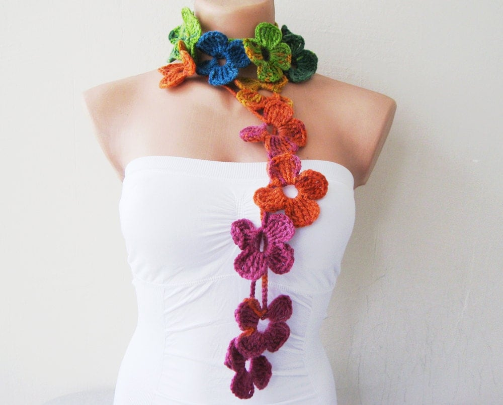 Flower Scarf Rainbow Hand Crochet Lariat Scarf by fairstore Crochet Flower Scarves