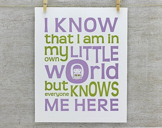 My Own World: Letterpress Nursery Decor - Typography Art Print, Wall Art, Purple Green (PEW3)