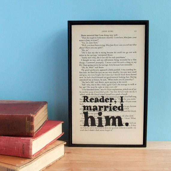Jane Eyre Wedding Gift Quote on Vintage Book Page Framed Altered Book Art