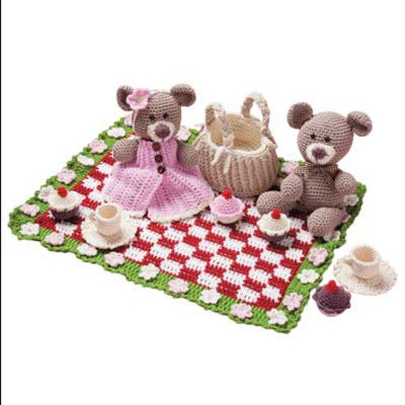 Download Now - Teddy Bears Picnic Playset - Amigrumi - Crochet Pattern PDF