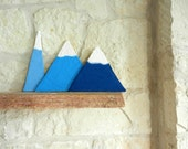 Three felted modern snowcapped mountains on Etsy