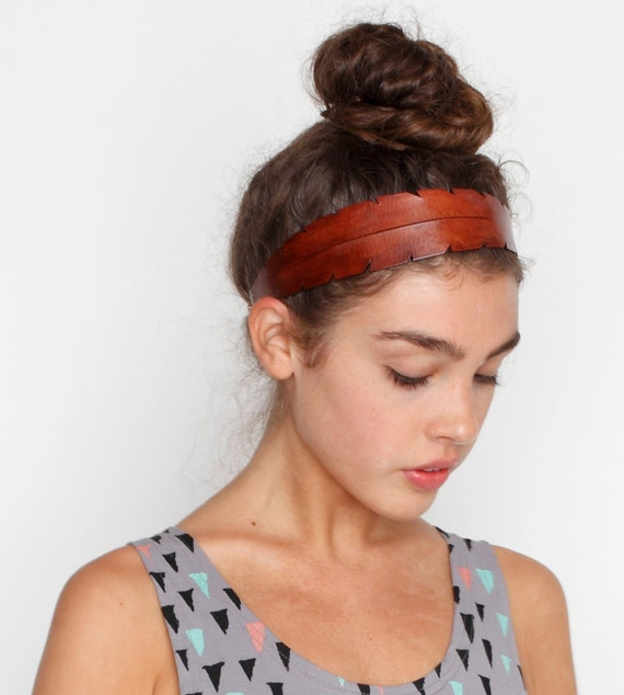 Feather Leather Headband in Brown
